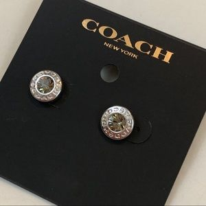 New COACH Open Circle Stone Strand Earrings 54516